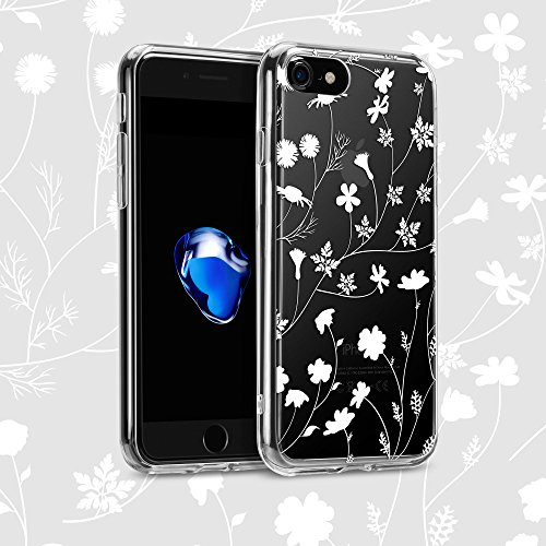 Daisy Silhouette (iPhone 7 Hülle (4,7 Zoll), GMYLE Muster Series Weiche TPU Rahmen + Hart PC Rückdeckel Hülle Muster Schutzhülle für iPhone 7 (White Daisy Silhouette))