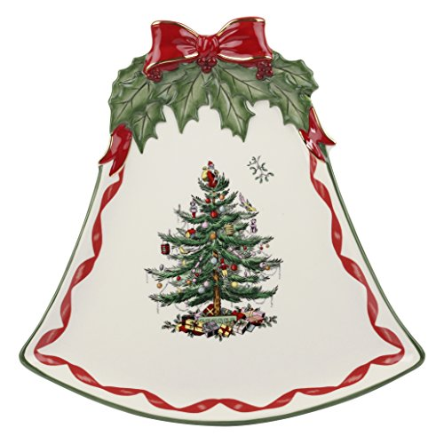Spode Christmas Tree Ribbons Bell Shaped Coupe Plate, Gold by Spode Coupe Dinner Plate