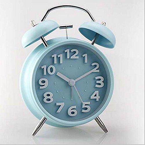 Wake Up Timer Clásico Retro Silencioso No Tiquete De Cuarzo DoubleTwin Bell Reloj Despertador Movimiento De La Cama con La Noche De Luz Y Alarma Alta, Batería De Bronce (Color : Blue)