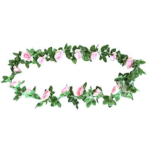 URIJK Rose Garland Künstliche Blume Kunstblumen Simulation Rose mit grünen Blättern Blumen Girlande für Zuhause Hochzeit Wohnzimmer Wand Dekoration