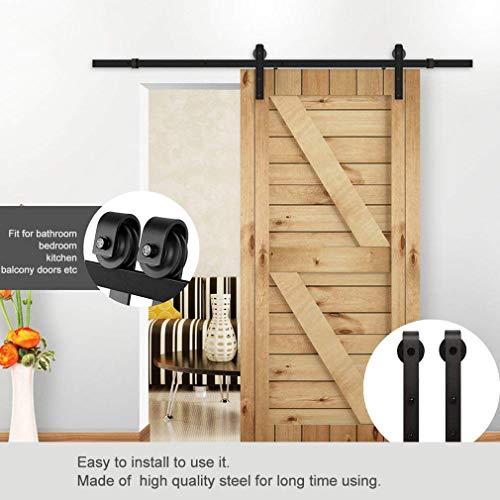 6.6FT Schiebetürbeschlag Set, Laufschienen für Schiebetür Hängeschiene Schiebetürsystem Laufschiene Tür Hardware Kit für Schiebetüren Innentüren 35 bis 50 mm Dicke(200CM)