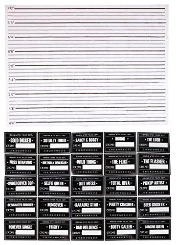 Hot Kostüm Gefangener - Mugshot Schilder-25photo-booth Requisiten mit Höhe Diagramm Hintergrund Poster für Geburtstag, Hochzeit, Party, Schild: 29,2x 19,1cm, Hintergrund: 157,5x 116,8cm