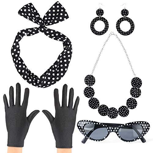 Haichen 50er Frauen Kostüm Zubehör Set Polka Dot Bandana Krawatte Stirnband Ohrringe Halskette Retro Cat Eye Sonnenbrille und Handschuhe (Süßes 50er Jahre Kostüm)