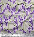Soimoi Grau Baumwoll-Voile Stoff Blätter & Lavendel