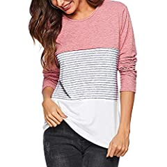 9b473d65d079b AMORETU Womens Round Neck Striped Colour Block Tops T-Shirt B ..