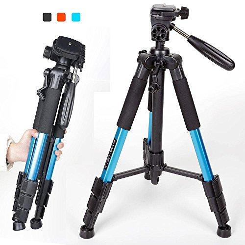 KOBWA Kamerastativ mit Stativkopf und Tasche Kamerastativ mit Stativkopf und Tasche Professional Stativ Tragbare Magnesium-Aluminiumlegierung Stativ Monopod & Kugelkopf SLR-Kamera SLR Camera für Canon Nikon Sony Petax Kompatibel
