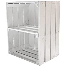 Kontorei® - Caja para fruta (también ideal para zapatos y CD, apilable, madera natural, color blanco