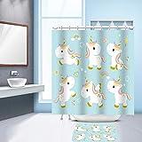 Nibesser Süßes Einhorn Anti-Schimmel Duschvorhang waschbarer Textil Badewannenvorhang Digitaldruck inkl. 12 Hacken Bad Vorhang für Badezimmer Badewanne 150cmx180cm