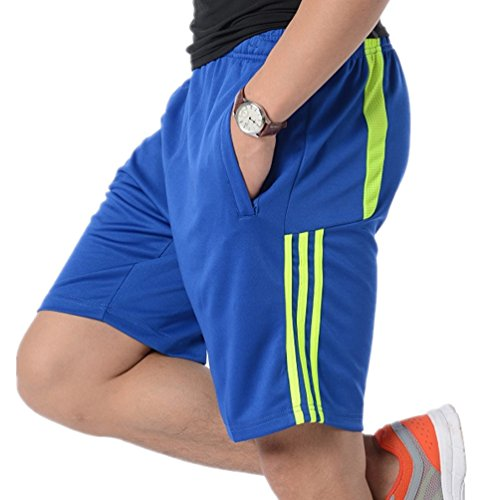 ORANSSI Mens Shorts Football Running Gym Active Sports Trunks with Zipper Pockets Bluegreen