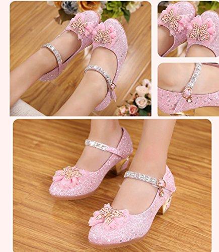 Scothen Filles ballerines chaussures de princesse étudiants chaussures chaussures cuir danse papillon enfants chaussures de princesse Party Pompes Bow Bow luisantes chaussures cheville ventes Rose