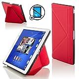 Forefront Cases Sony Xperia Z3 Tablette Compact 8 Pouces 8' SGP611 Origami Étui Housse Coque Case Cover - Ultra Mince Léger Protection complète - Smart Auto Veille Réveil - Rouge + Stylet & Protecteur