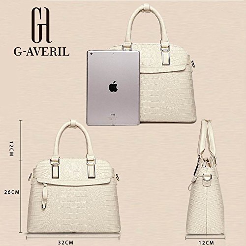 (G-AVERIL) Borsa a Mano da Donna Tracolla in Pelle Stampa Intrecciata Made in Cina GAVERIL Borse beige