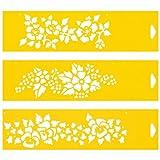 30cm x 8cm (Juego de 3) Stencil Plantilla Plástico Reutilizable para Decoración Pasteles Paredes Tela Muebles Manualidades Arte Artesanía Diseno Gráfi