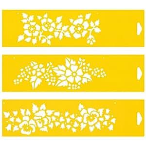 30cm x 8cm Pochoir (Jeu de 3) Réutilisable en PCV Plastique Transparent Souple Trace Gabarit - Traçage Illustration Conception de Gâteau Murs Toile Tissu Meubles Décoration Aérographe Airbrush - Fleurs Fraises Motif Floral