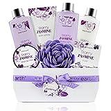 Cestini regalo bagno e corpo, Lussuoso set da bagno da 8 pezzi con profumo di gelsomino, Set da bagno perfetto Regali per il relax delle donne