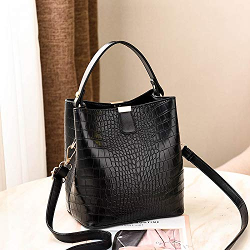 LFGCL Taschen womenFashion pu Female Bag Bucket Bag handschlaufe Schulter geschlungene Damentasche, schwarz