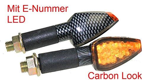 Preisvergleich Produktbild Motorrad Mini Blinker LED Future carbon getönt E-geprüft M10 für CPI Honda Kawasaki Suzuki Yamaha CB KLR KMX GN GS GSX DT XJ XT 125 500 600 650 750 1100