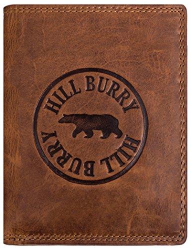 Hill Burry Herren Geldbörse | echt Leder Portemonnaie - aus weichem hochwertigem RindsLeder - Hochformat (Braun) - Echte Leder-geldbörse