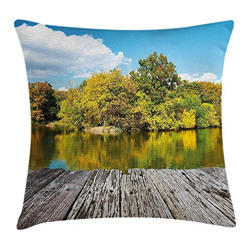 KAKICSA Landscape Throw Pillow Cushion Cover, New York City Central Park in a Autumn Day Near a Bay with River, Decorative Square Accent Pillow Case, 18 X 18 inches, Sky Blue Green and Cocoa New York Satin Bow