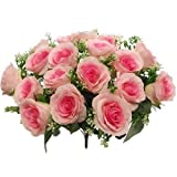 fs Künstlicher Rosenstrauß, 44 cm, helles und Hot-Pink, 18 große Blumenköpfe
