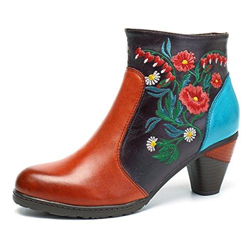 Socofy Damen Ankle Boots, Kurzschaft Stiefel High-Top Classic Lederstiefel Leather Boots Frau Zipper Handmade Chukka Lederschuhe Orange 36 (Chukka Classic)