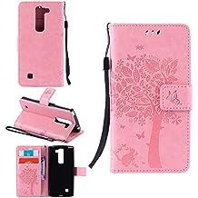 Funda Libro para LG G4c / LG G4 Mini / LG Magna (5 pulgada), Ycloud PU Leather Cuero Con Flip Cover Cierre Magnético Función de Soporte Billetera Case con Tapa para Tarjetas Gato Árbol Mariposa Rosa