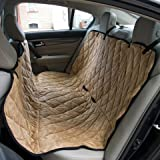 """Dog Travel Hammock & Back Seat Cover - Protect Your Car, Truck or SUV From Dirt, Hair or Dander With This Durable Super Soft Heavy Gauge Waterproof Fabric - Perfect for Large & Small Pets. Also Protects Your Furniture, Couches & Sofas - 50 1/2"""" x 56 1/2"""" - Golden Brown"""