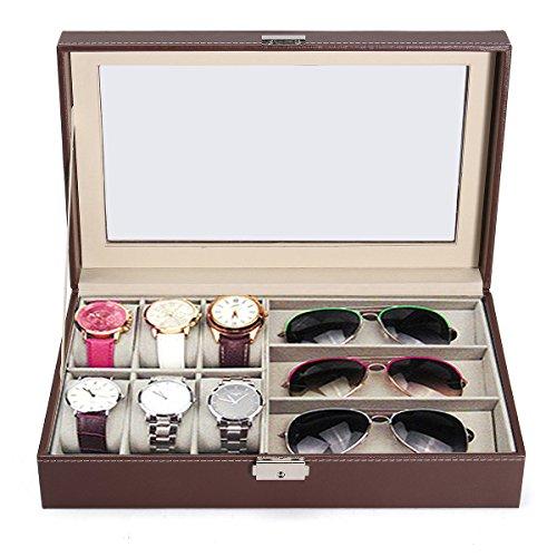 EgBert Multi-Grid Holz Leder Gläser Box Glas Speicher Uhr Vitrine