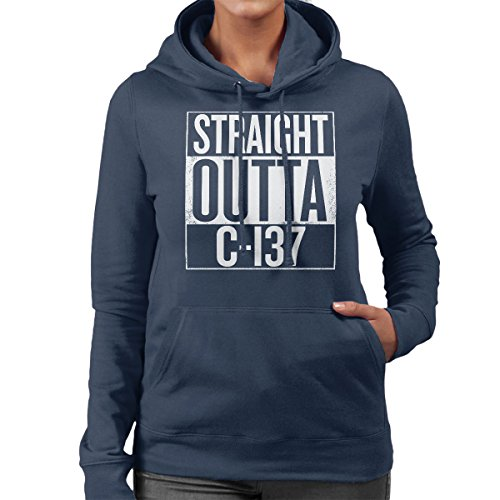 Straight Outta C-137 Rick And Morty Women's Hooded Sweatshirt Navy Blue