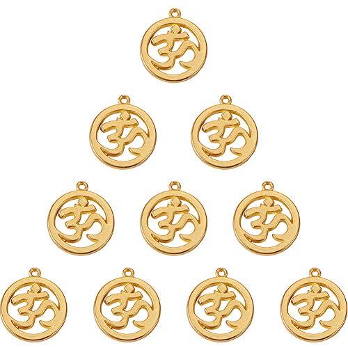 SUNNYCLUE 1 Box 10 Stück echtvergoldete Legierung flach rund Yoga OHM Charms Anhänger Chakra Sanskrit Perlen Schmuck Findings Zubehör 29 x 25,5 mm für DIY Schmuckherstellung Basteln matt goldfarben