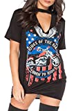Women's Ladies Choker Neck T shirt Dress Biker King Of Road Slogan Printed Tops