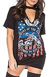 Women's Ladies Choker Neck T shirt Dress Biker King Of Road Slogan Printed Tops