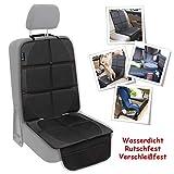 SNAWOWO Autositzschoner Kindersitz Autositzauflage Kindersitzunterlage Rutschfeste Unterlage ISOFIX passende Autositzschoner wasserdicht 600D PVC Leder Schutzunterlage für Universale Autos SNAWOWO