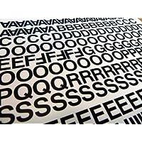 Pack de 356x 0.5(12.7mm) vinilo negro pegajoso letras y números, autoadhesivas, pegar, cut-to-shape, impermeable letras para letreros, vehículos, barcos, pósters & proyectos de escuela