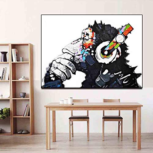ZEMER Ölgemälde Leinwanddrucke Pop-Art Coole Affen Hören Musik Mit Kopfhörer Ohne Gerahmt Für Wohnzimmer Wand Dekor,60 x 80 m