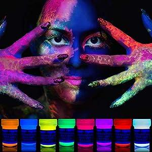 neon nights 8 x UV Schminke | Schwarzlicht Schminke für Bodypainting und Gesicht | Fluoreszierende Neon Schminke im Set für knalligen Leuchteffekt | 8 x 20 ml Leuchtfarbenlow-Effekt | 8 x 20ml Leucht-Farben