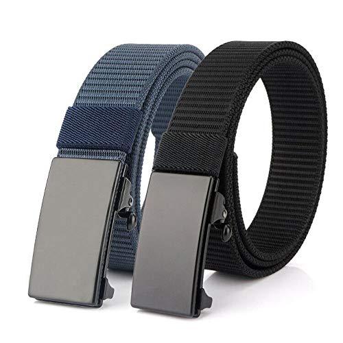 Bansga Cinturón de Nylon, Cinturón de Trinquete Deslizante con Hebilla Automática, Cinturón Web Ajustable Para Hombres, Mujeres y niños (S Negro + Azul)