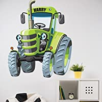 Personalised Large Cartoon Tractor Sticker Boys Bedroom Wall Art Farm Decal Nursary Children
