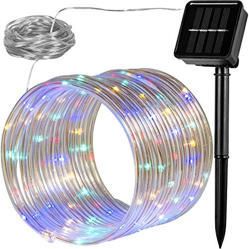 VOLTRONIC 100 LED Solar Batterie Lichterschlauch Lichterkette für innen und außen, erhältlich in: warmweiß/kaltweiß / bunt, IP44, 2 Leuchtmodi, Outdoor - Vorhänge Panel-grüne Zwei
