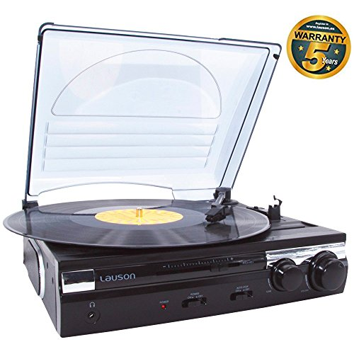 Lauson CL611 Tocadiscos de Vinilo | USB | Altavoces Incorporados | Belt Drive Turntable with Built-In Speaker (Negro)