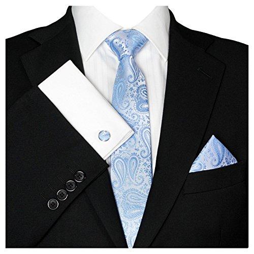 GASSANI Herrenkrawatte Schmal Paisley-Muster, Hellblaue Hochzeitskrawatte Gemustert, Einstecktuch Manschettenknöpfe Z. Hochzeits-Anzug Sakko Weste