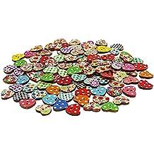 Botones de madera - TOOGOO(R) 100 Multicolor 2 agujeros Botones de costura Boton de cortar y pegar