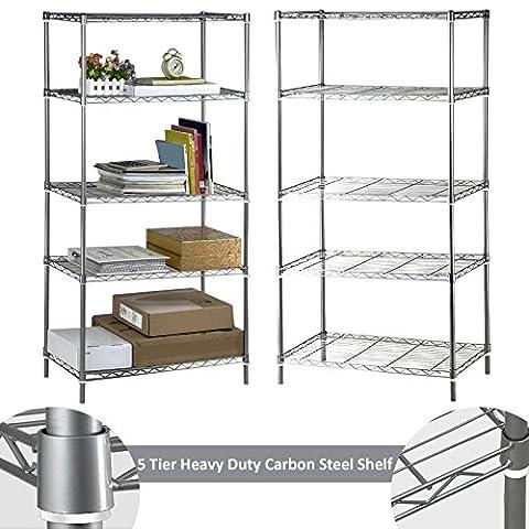 Safekom 5 Tier Heavy Duty Metal Steel Chrome Kitchen Garage Storage Shelving Shelf Rack