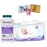 Himalaya Herbals Baby Powder (50g)+Himalaya Herbals Gentle Baby Wipes (12 Sheets) With Happy Baby Luxurious Kids Soap With Toy (100gm)