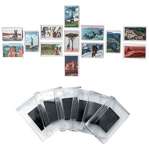 50 teiliges Set Rohlinge Magnetische Kühlschrank Fotorahmen Bilderrahmen Magnetrahmen von Kurtzy - Hochwertige transparente Acryl Kühlschrankmagnetem mit Bild Einsatz Größe 7cm x 4.5cm