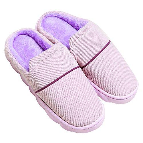 Hausschuhe Damen Slipper Herren Indoor-Pantoffel Winter Frühling Wärme Weicher Slippers Lila