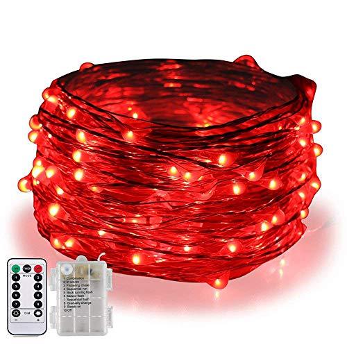 BOLWEO 5M / 16.4Ft 66LEDs batteriebetriebene LED-Schnur-Lichter, Fern- / Dimmable/Timer, wasserdichte kupferne Draht-feenhafte Lichter für Innenparty-Hochzeit im Freien, Rot - Durch Schnur-dimmer