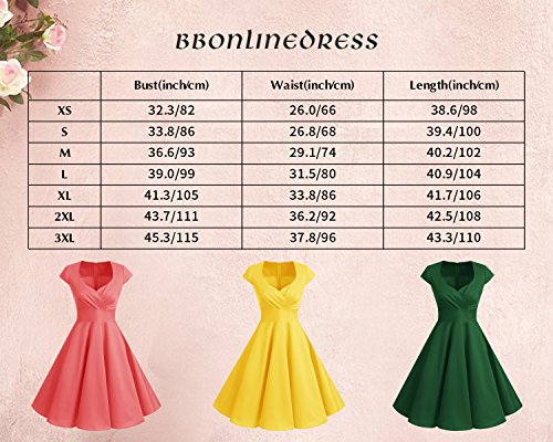 bbonlinedress 1950er Vintage Retro Cocktailkleid Rockabilly V-Ausschnitt Faltenrock Blue Small White Dot S - 6