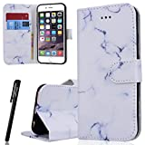 WE LOVE CASE iPhone 6 / 6S Plus Wallet Case , Premium Quqlity Leather Cover with Card Holder Kickstand and Magnetic Closure, Folio Flip Foldable Book Feature Protective Case for iPhone 6 Plus iPhone 6S Plus - White Marble