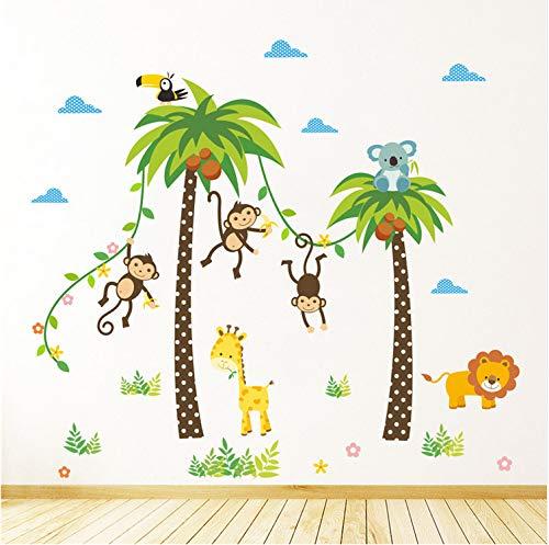 Wandaufkleber baum Waldtiere Giraffe Lion Monkey Palm für kinderzimmer Kinder Wandtattoo Kindergarten Schlafzimmer Dekor Poster Wandbild
